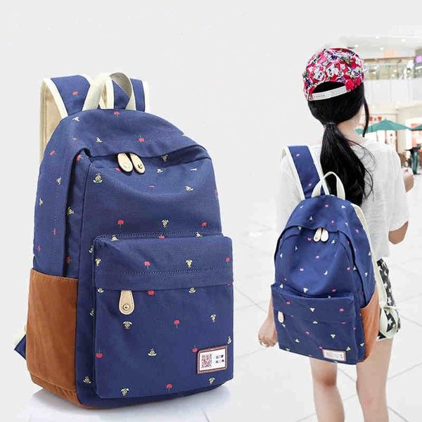 Leisure Cute Floral Print Canvas Bag Backpack|Fashion Backpacks - Fashion Bags - ByGoods.com