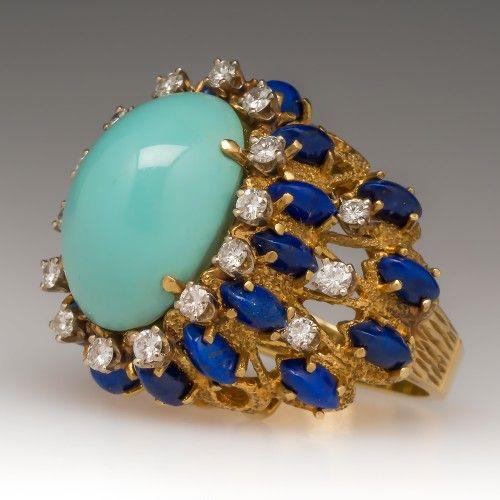 Vintage Turquoise Lapis & Diamond Cocktail Ring 18K
