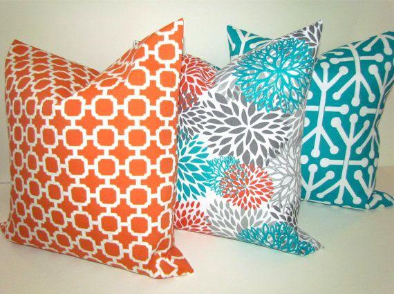THROW PILLOWS Set of 2 20x20 TEAL Orange by SayItWithPillows