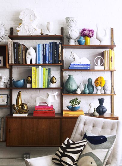 accessories should travel in schools. Jonathan Adler // midcentury bookcase, pottery, vases, books