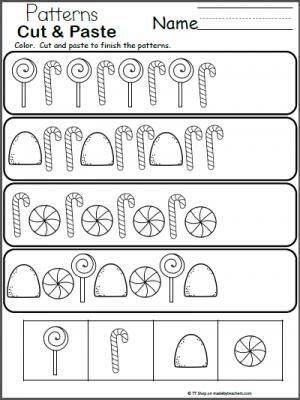 candy patterns cut and paste math worksheet freebie great for christmas and the holidays free. Black Bedroom Furniture Sets. Home Design Ideas