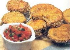 me encantan las milanesas de berenjena!! baked breaded eggplant, receta en español