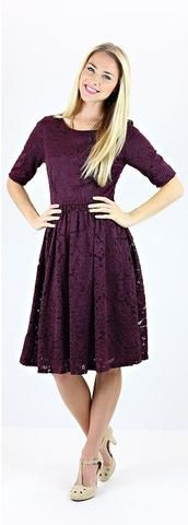 Honor Dress (Dk Purple)  Pretty dk purple lace dress, can be accessorized with a belt or worn alone. Also works well for Homecoming, a special occasion, or as a modest bridesmaid dress.