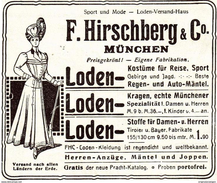 Original-Werbung/ Anzeige 1907 - LODEN HIRSCHBERG - MÜNCHEN - Ca. 80 X 65 Mm - Werbung