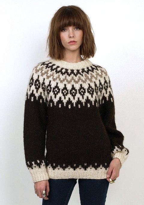 Vintage 80's brown Fair Isle Ethnic Nordic Wool pull over jumper sweater.