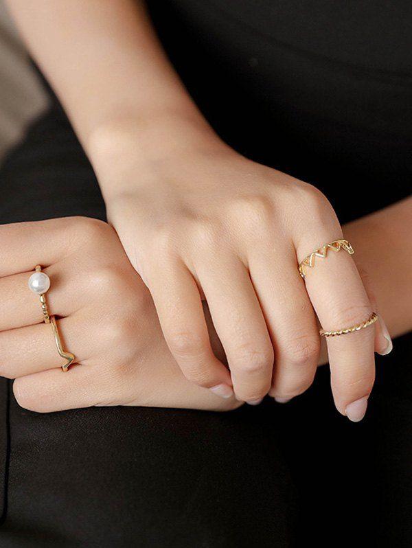 4 PCS Brief Faux Pearl Chevron Rings #jewelry, #women, #men, #hats, #watches, #belts, #fashion