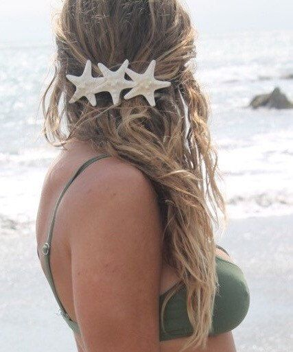 Knobby Trio Barrette Starfish Hair Clip Mermaid di PoppyCoast