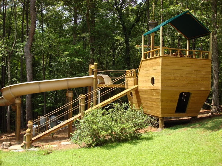 ahoy mateys diy pirate ship that provides access to huge backyard pool slide