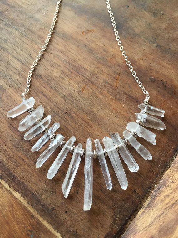 Raw Crystal Point Necklace- Crystal Bib Statement Necklace- Raw Crystal Bib…