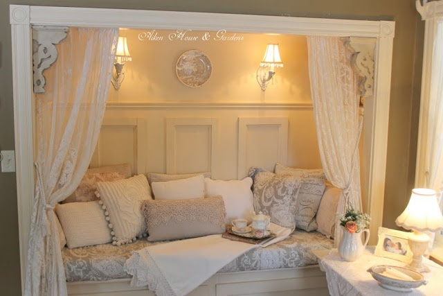 Aiken House & Gardens: Our Reading Nook ...Turn a closet into this beautiful reading nook ... I could see this done with beadboard, vintage quilts and gingham curtains for a sweet farmhouse look.