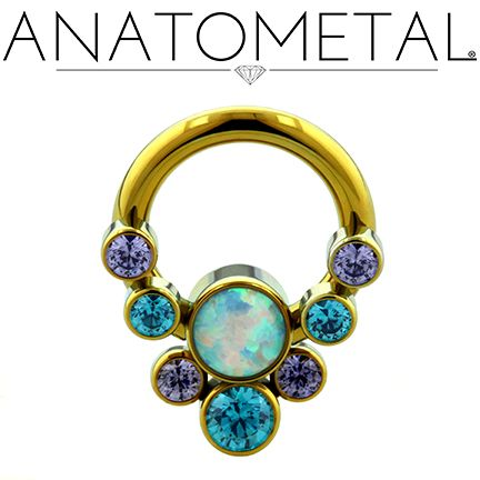 "5/16"", 14ga Front Facing Circular Barbell with Captive Gem Cluster in ASTM F-136 titanium, anodized gold with synthetic Tanzanite, Mint Green CZ, and synthetic Opal #17 gems"