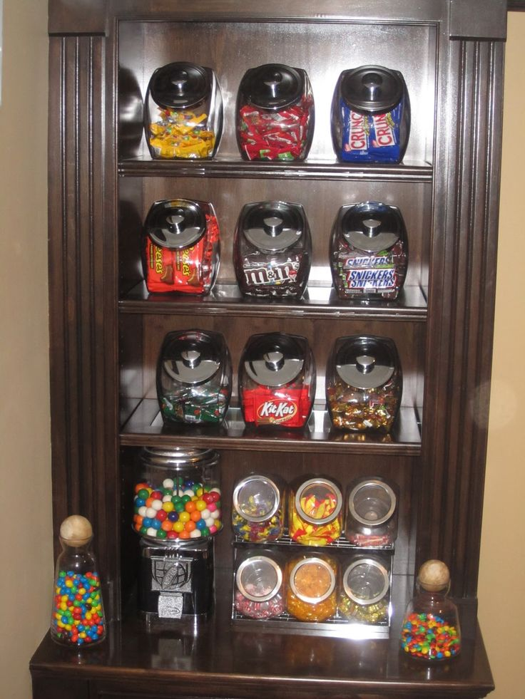 Candy bar for Recreation room!  LOVE this idea!