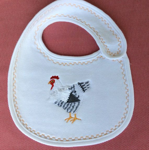 Embroidered baby bib hen embroidery farm by Pobblebonksdesigns