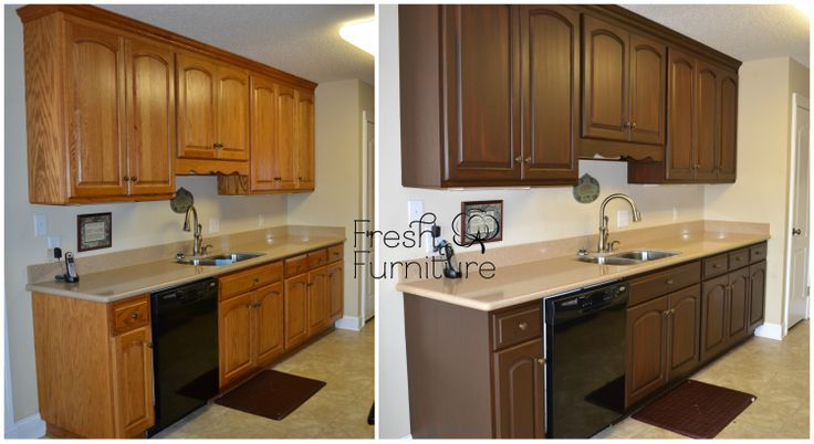 Oak Cabinet Makeover with General Finishes Antique Walnut Gel Stain