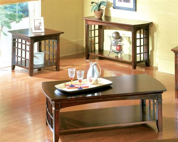 Glasgow Contemporary Dark Chocolate Cherry Wood Coffee Table Set Part 42