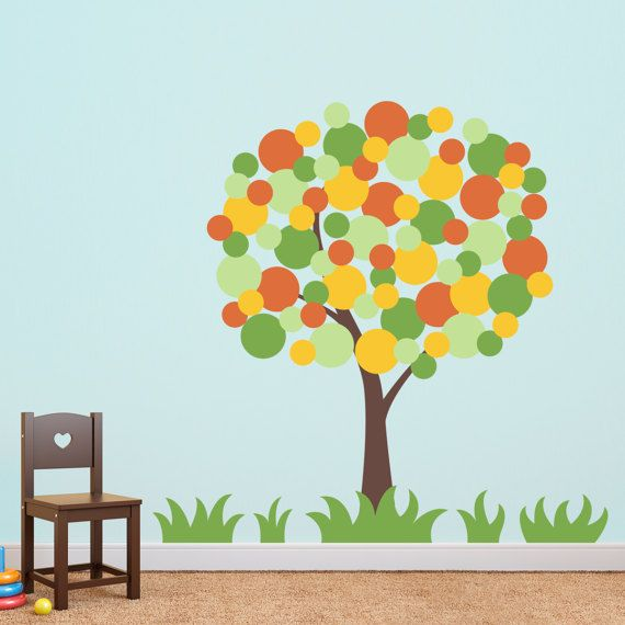 Polka Dot Tree Wall Decal   Tree Wall Sticker   Children Decor   Large