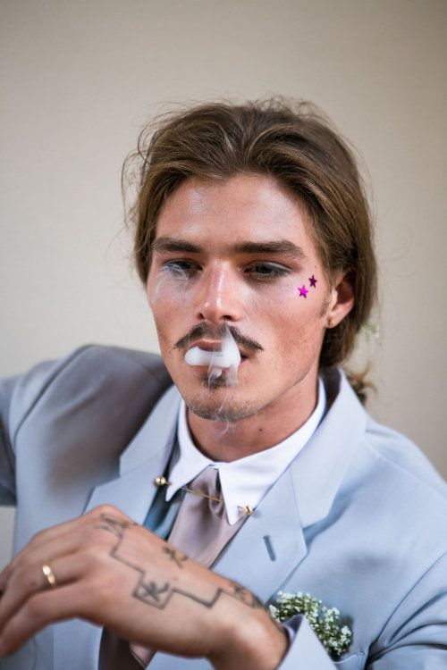 Linnèo Archivable Clothing  bespoke groom suit  hipster groom  light grey groom suit