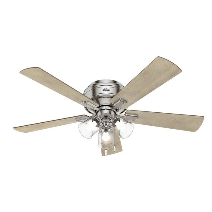 Flush Mount Brushed Nickel Ceiling Fan