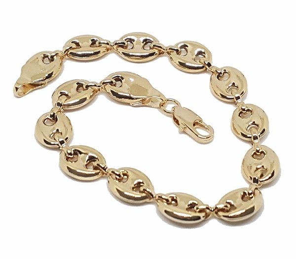 10456f8 18kt Brazilian Gold Filled Ladies Puff Marine Link