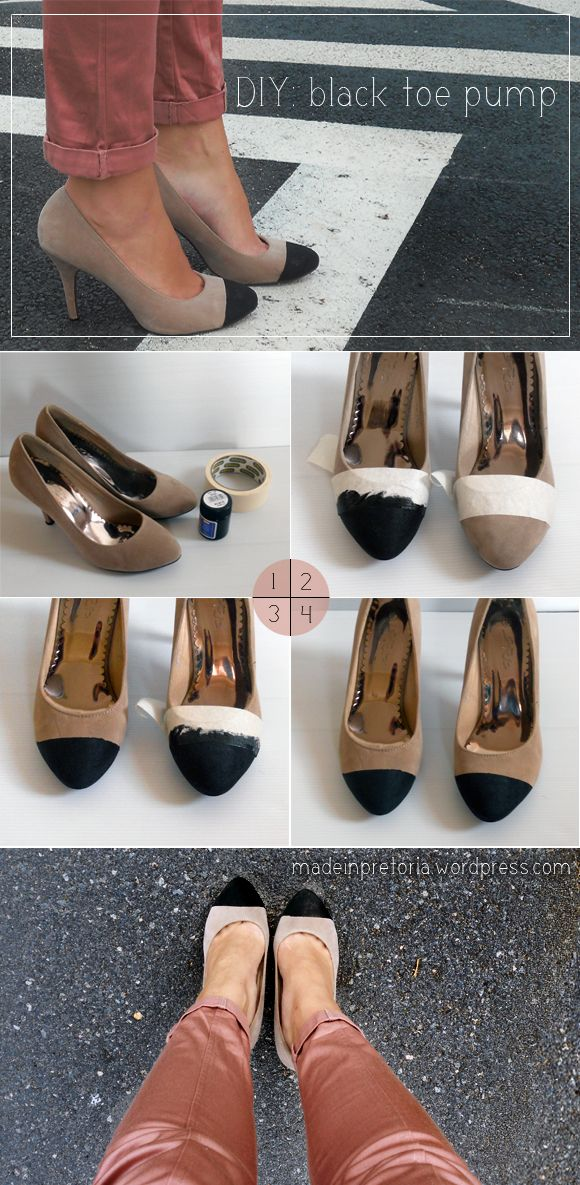 DIY: Black Toe Pump  Supplies: Nude pumps, acrylic paint, tape      With the tape, section the toe end that you want black. Paint the tip, and      Before it is fully dried, carefully peel the tape away