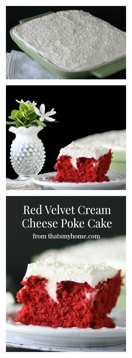 Red Velvet Poke Cake with a cream cheese poke filling with an almond flavored frosting.