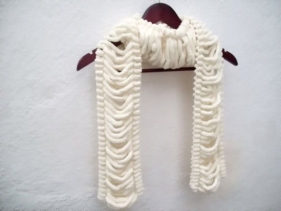Hand knitting  Long Scarf Mulberry Scarf  Cream Pompom by nurlu