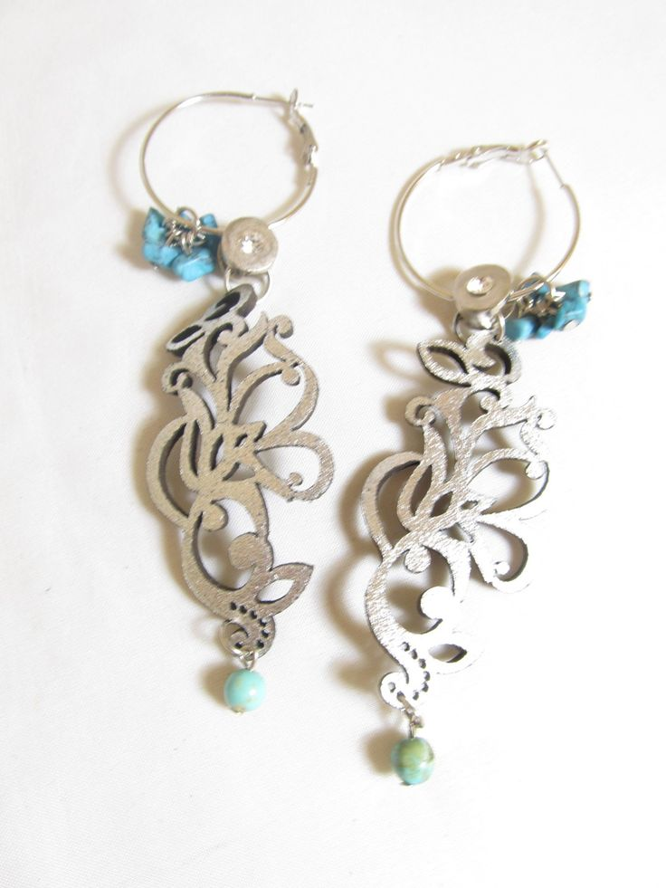 Handmade earrings with silver leather filigrees (1 pair)  Made with silver leather earrings, antiallergic earring hoops, turquoise stones and metal with crystal.