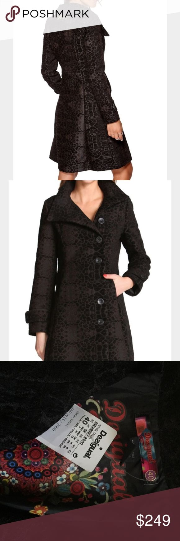 Desigual Coat Desigual Abrig Trizia Coat Brand New with Tag! Paid $2,200. Black textured giraffe print, Size 40 (USA 6) but could fit anyone from a S-L because of the buttons. Desigual Jackets & Coats
