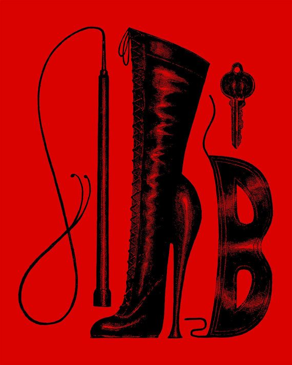 BDSM fetish art print bondage dominatrix mistress sexy illustration boot whip kinky poster Velvet Underground
