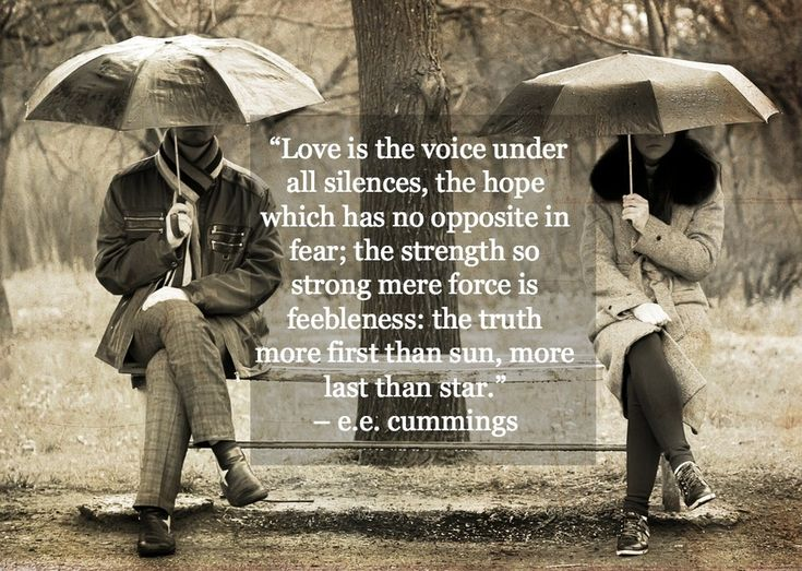 """""""Love is the voice under all silences, the hope which has no opposite in fear; the strength so strong mere force is feebleness: the truth more first than sun, more last than star."""" -e.e. cummings"""