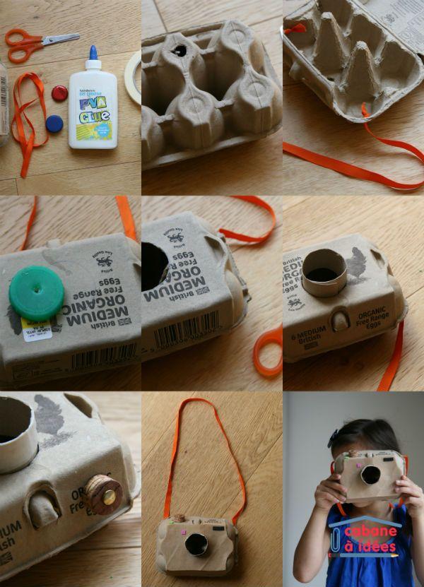 Quand on a un peu plus de temps, on recycle pour fabriquer des objets. Le dernier en date : un appareil photo que l'on a fabriqué dans une boite d'oeuf. C'est pratique, c'est le bon format pour simuler un appareil photo reflex ! Et on a fouillé dans la poubelle de recyclage pour bricoler l'objectif, le bouton sélecteur, la bandoulière... Vous nous montrez celui de vos enfants sur Facebook?? (ou alors envoyez nous une photo à hello @ cabaneaidees.com) Matérie...