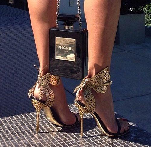 Gold designer Butterfly heels