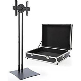 Displays2go Portable TV Stand for 32-70 Display, Travel Case Included, 88 Tall, Rotating, VESA Compatible