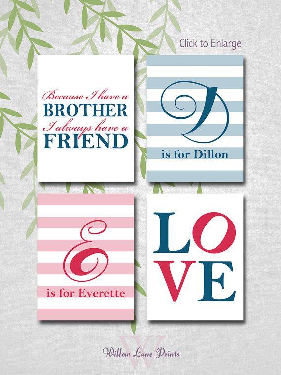 Personalized Brothers Bedroom Art, twin boys nursery decor, Monogram, 4 print set, Navy blue and Red Nursery, Baby Boys
