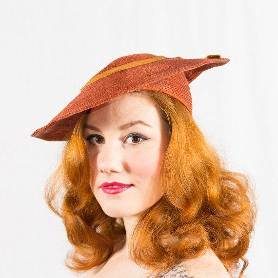 vintage 1930s hat / platter hat / Wheat Penny