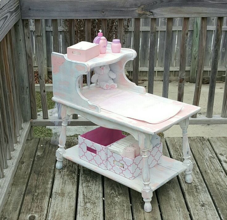 Side Table Made Into Distressed Light Pink, Blue, And White Childu0027s Play Changing  Table For Dolls.