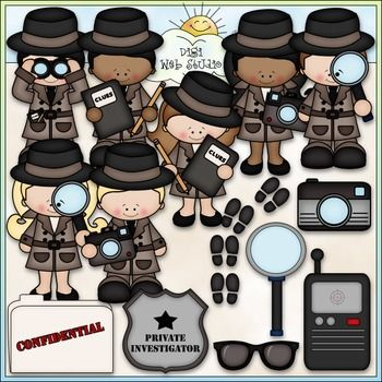 Clip Art and Digital Stamps Download with 14 Color Images and 14 Black and White Images as shown in the preview.  All images are high quality 300 dpi for beautiful printing results.CLIP ARTFormats: transparent PNG and non-transparent JPGIncludes: detective agency, private investigator, detective girls, detective boys, crime scene footprints, magnifying glass, confidential file, badge, tracking device, camera, spying, special agent, police, sunglasses / shades.DIGI STAMPS (with a white fill…