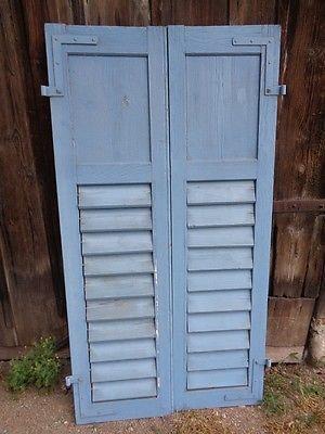 1 Paar Fensterladen - Holz - taubenblau - Höhe 168 cm, Breite ca. 43,5 cm