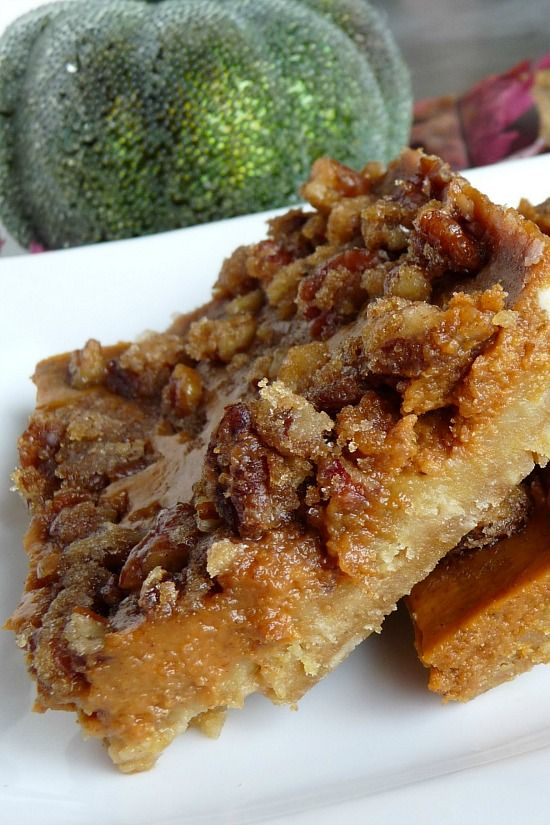 Pecan Pumpkin Pie bars.  If you're wary of making pie crust (like I am) but want the true flavors of both pecan and pumpkin pie, then THIS is a winning recipe.