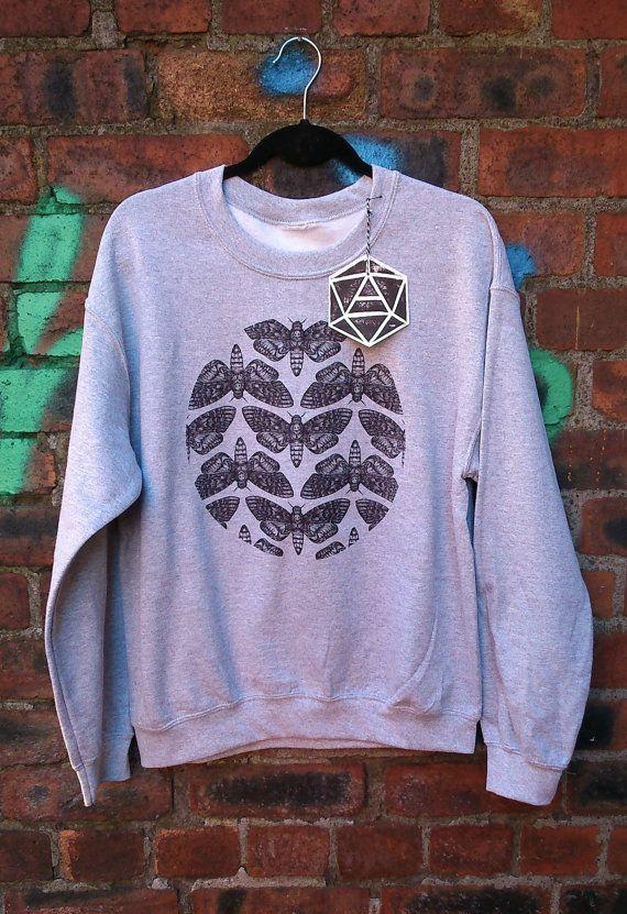 Tête de mort imprimé écran Hawk Moth pointillisme Sweat-shirt unisexe