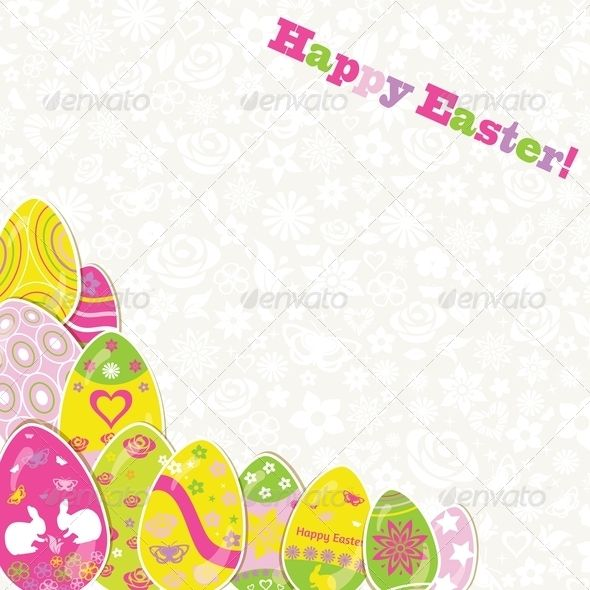 Easter Background with Paper Eggs