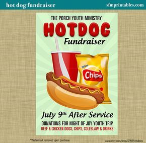 Hot Dog Fundraiser Dinner BBQ Invitation Poster / Spring Template Church Youth Group School Community Goods Sale Flyer / Fundraiser Poster