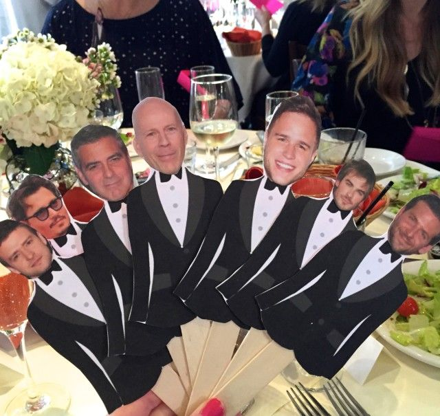 """Super simple bridal shower game! """"Who Got the Groom?"""" Tape pictures of celebrities + the groom onto tuxedos and place them into envelopes. Pass one envelope out to each guest and whoever gets """"gets the groom"""" wins! A twist on the tossing of the bouquet."""