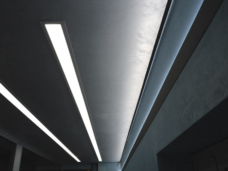 Continuous lighting rows with WAY for recessed installation and STREET/A2 aluminium profile for the upward lighting. www.atenalux.com