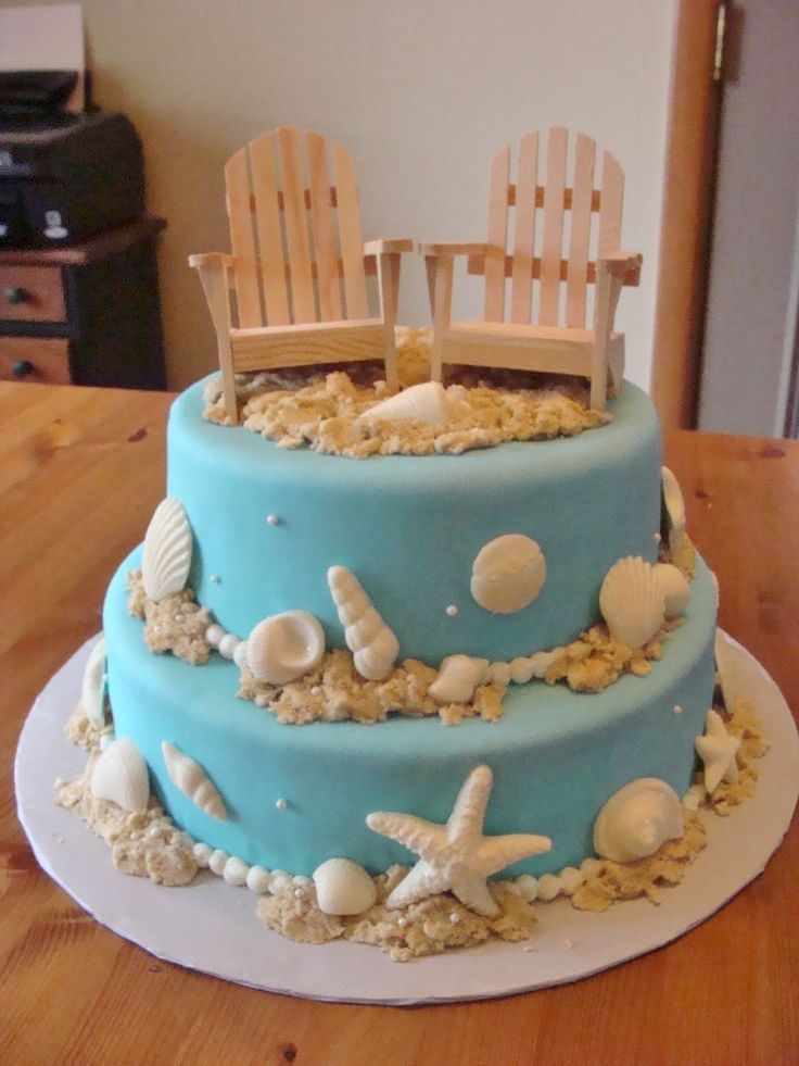 """Seaside, Ocean Blue with Sea Shells and Beach Chairs, White or Chocolate, 2 or 3 Tier, 8"""" or 10"""""""