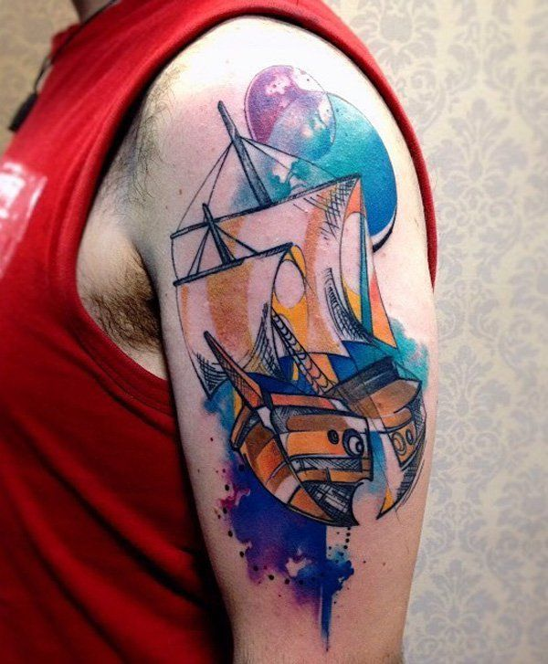 Watercolor boat tattoo - 100 Boat Tattoo Designs