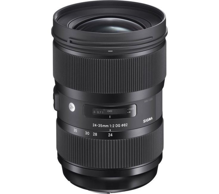 SIGMA  24-35 mm f/2 DG HSM Art Wide-angle Zoom Lens - for Canon Price: £ 699.00 Top features: - Bright f/2 aperture throughout the zoom range - Advanced optical design for brilliant results - Internal focusing eliminates front lens rotation - Super Multi-Layer Coating reduces flare and ghosting - Hyper Sonic Motor (HSM) delivers quiet, fast autofocus Bright f/2 aperture This Wide-angle Zoom...