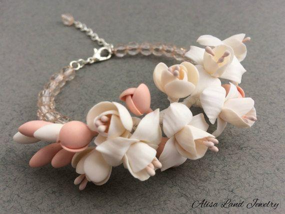 White flower bracelet Polymer clay jewelry Ivory floral