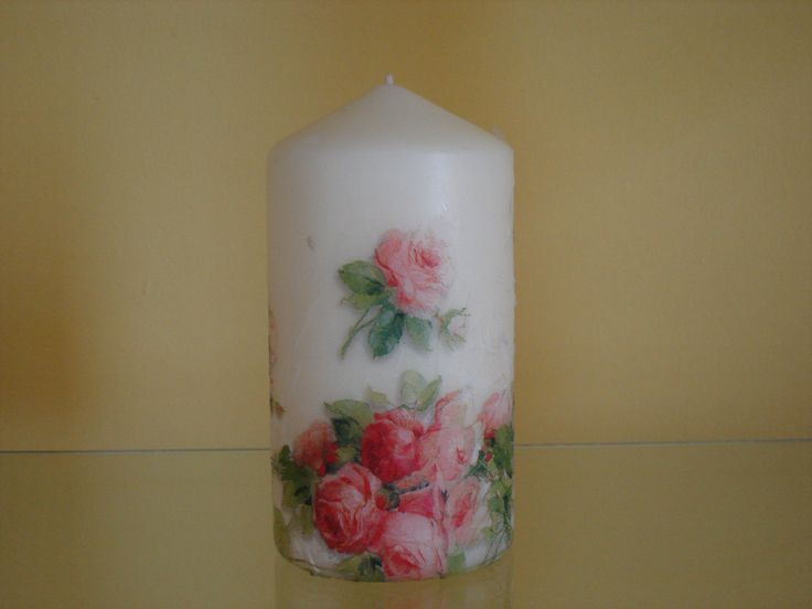 Decoupage on candle.