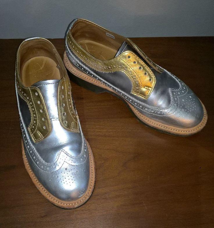 Dr Martens Wing Tip Dress Shoes Size US 6 Gold Silver Leather Men Brogue Shoe